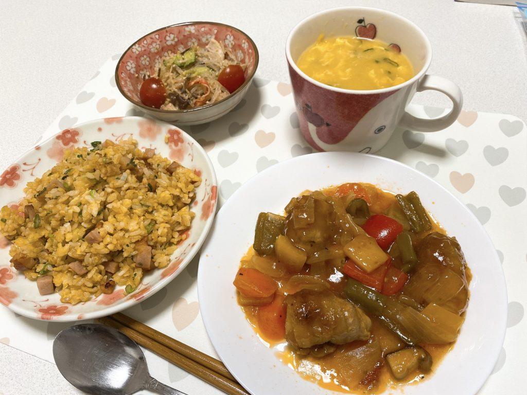料理教室マンツーマン酢豚セット盛り付け例